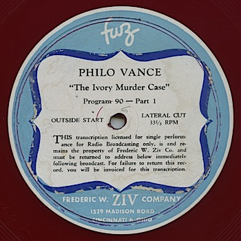 """Philo Vance"" was syndicated by the Frederick Ziv Company"