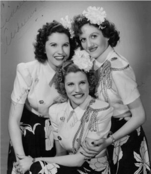 "The ""queens of the jukebox,"" the Andrews Sisters in 1943"