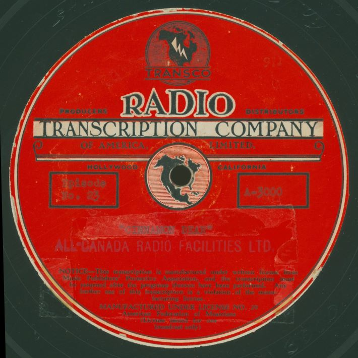 "Most TRANSCO 16"" transcriptions carried this standard label, with specific show titles and numbers typed and/or stamped in ink"