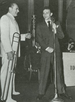 "Bandleader Tommy Dorsey, pictured here with Frank Sinatra in 1941, thought Sinatra was ""a damned fool"" for considering a solo career"