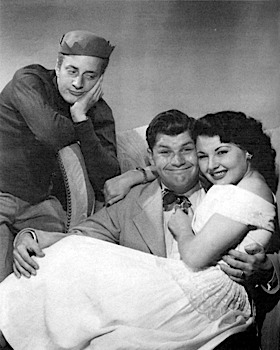 "Harlan Stone as Jughead, Bob Hastings as Archie, and Gloria Mann as Veronica in ""The Adventures of Archie Andrews"""