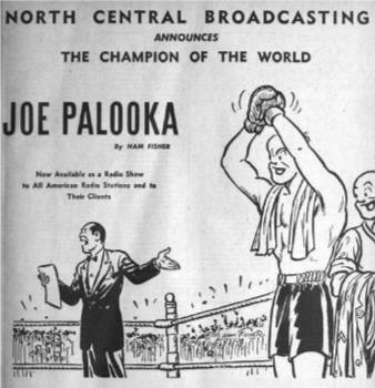 Billboard Magazine advertises the availability of the new Joe Palooka radio series - October 1945