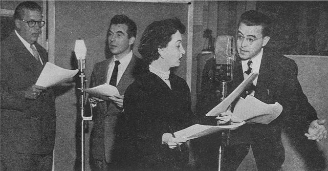 "The cast of ""Rocky Jordan"" assembles for a 1949 broadcast from the CBS studios in Hollywood."