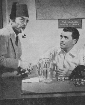 Jay Novello as Sam Sabaaya and Jack Moyes as Rocky Jordan in a CBS publicity photo circa 1950